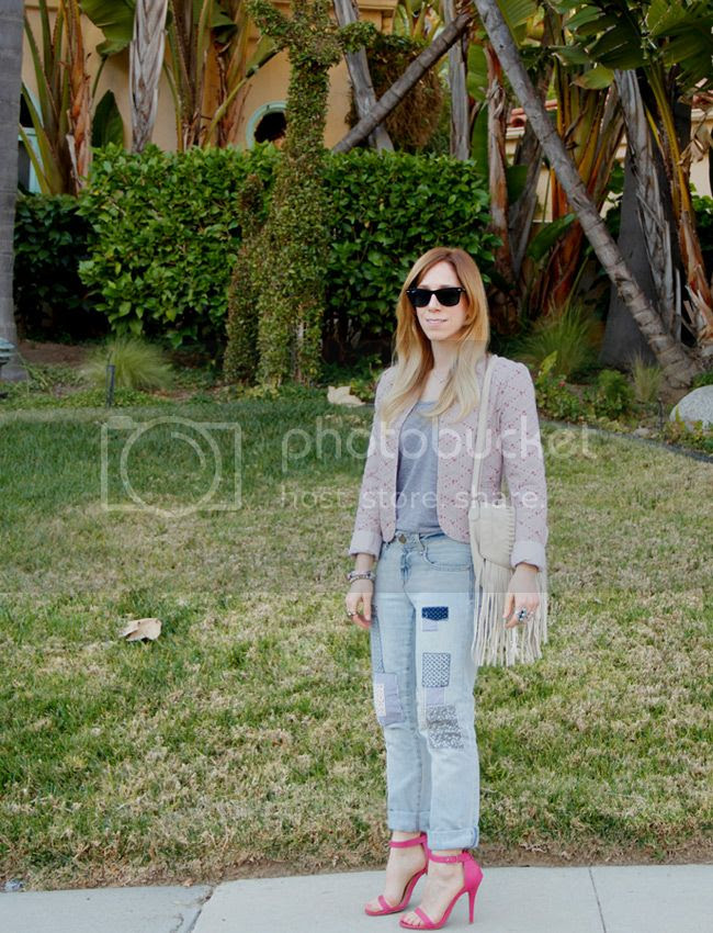 Rubbish quilted floral jacket, Gap patchwork jeans, Anne Michelle Enzo-01 ankle strap heels, LA fashion blogger