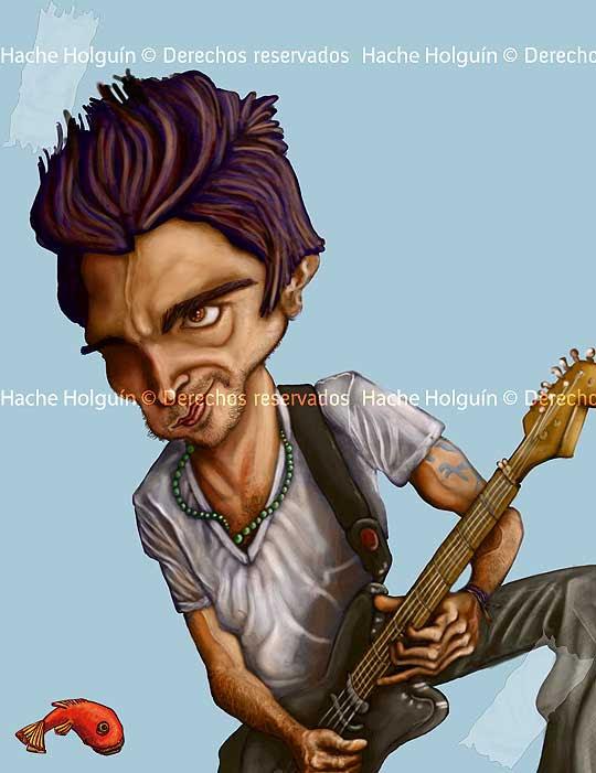 Caricatura digital de Juanes por hache Holguin