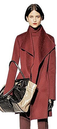 Red, black and burgundy: From left, H&M's dress fits the demand for pillarbox red colours, Audrey Hepburn's LBD will be on show at the V&A while wine shades like this claret wrap coat will be on trend