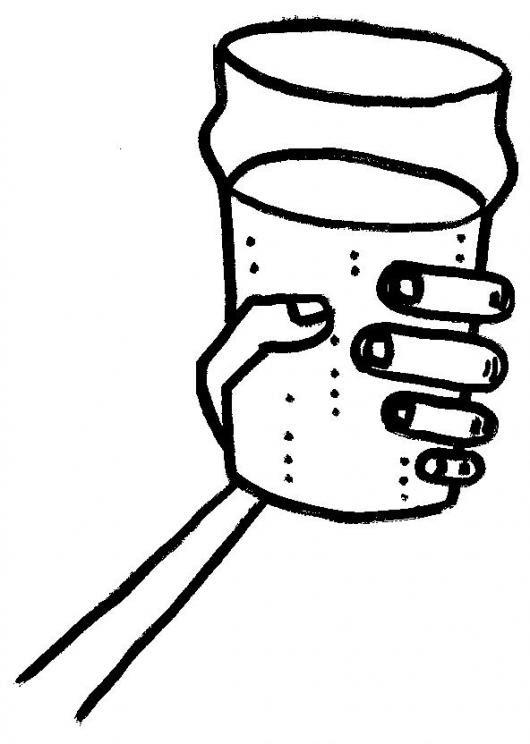 Dibujo De Mano Con Vaso Diciendo Salud Para Pintar Y Colorear