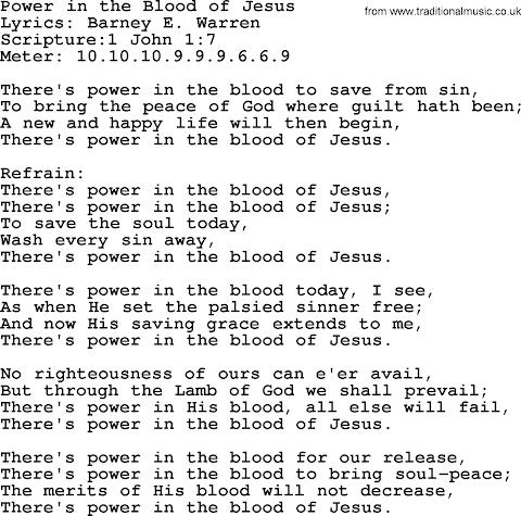 Oh The Blood Of Jesus Lyrics
