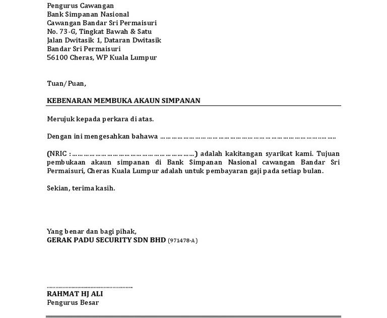 Surat Rasmi Untuk Buka Akaun Bank - Surat GG