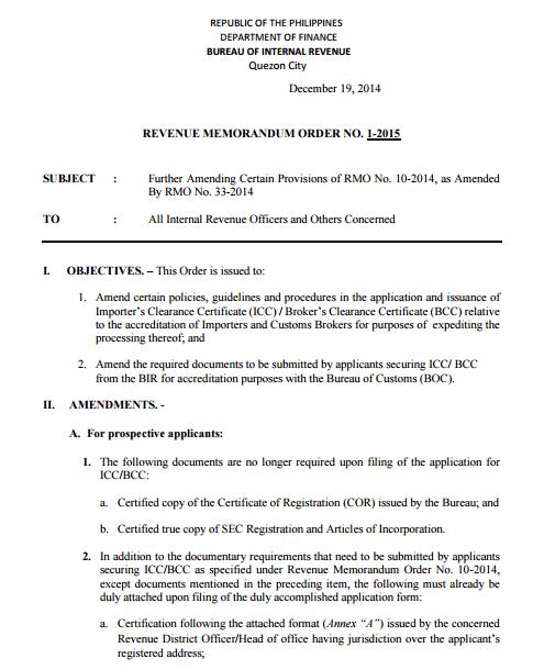 40 TAX CLEARANCE APPLICATION FORM BIR Bir Icc Application Form Annex A on