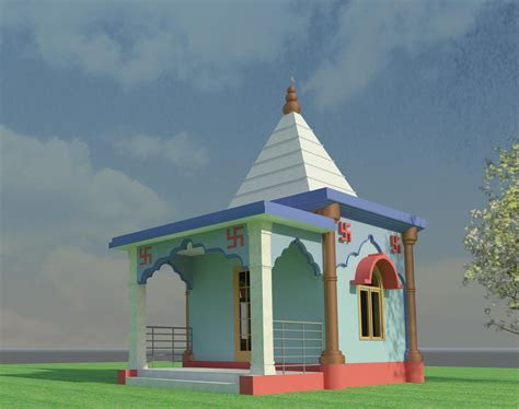 indian small temple design  cad model library grabcad