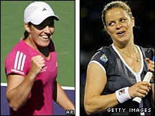 Justine Henin (left) and Kim Clijsters celebrate after their respective quarter-final victories