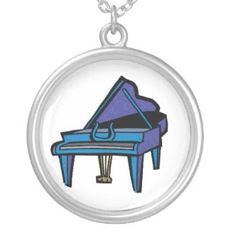 Grand Piano Graphic, Blue Image necklace