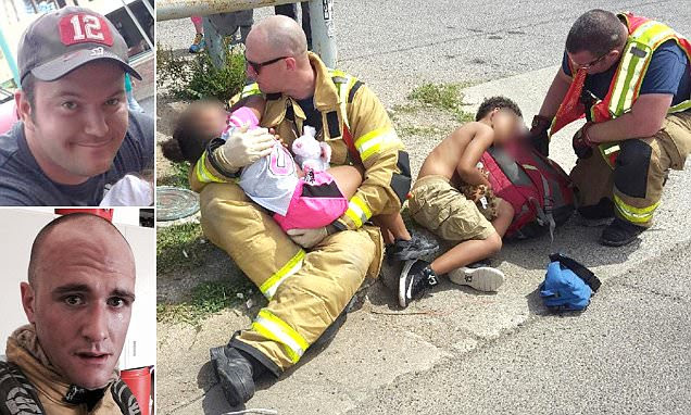 Texas firefighters comfort 2 children after a car crash
