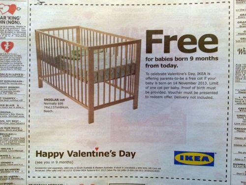 Ésta si que es una buena promoción de San Valentin! Ikea regala una cuna de bebe a las parejas cuyo hijo nazca dentro de 9 meses!
