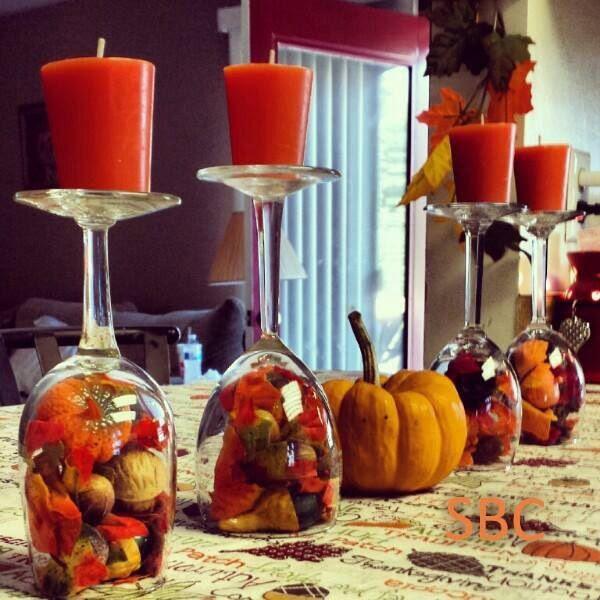 verres porte bougie automne décoration