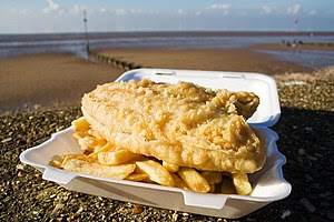 Fish and chips, photographed Norfolk, UK
