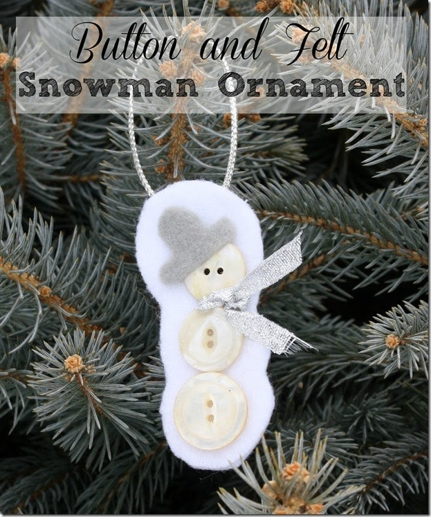 Button and Felt Snowman Ornament by Virginia Sweet Pea