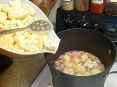 Adding Cauliflower to Hot Soup