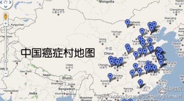 Locais das comunidades onde as taxas de câncer dispararam recentemente.  (Global Times via Weibo)