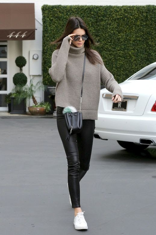 Le Fashion Blog Model Off Duty Style Kendall Jenner Ribbed Turtleneck Top Mini Crossbody Bag With Fur Pom Pom Shiny Leather Pants White Sneakers Via Kendall-Jenner.net