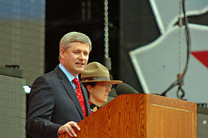 Prime Minister Stephen Harper speaking at 2009...