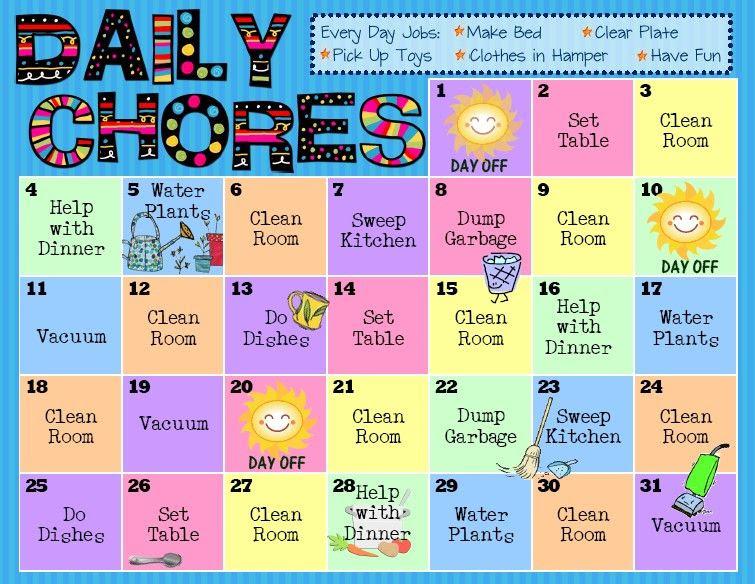 1000+ ideas about Chore Calendar on Pinterest | Daily chore list ...