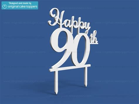 """Happy 90th""   White   90th Birthday Cake Topper"