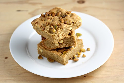 Speculoos Spread, White Chocolate, and Pistachio Blondies