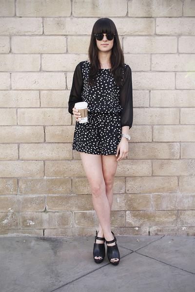Black-polka-dot-romper-black-heels