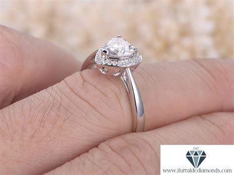 6.5mm Heart Shaped Moissanite Engagement Ring Diamond Halo