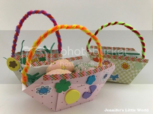 Easter baskets with glittered eggs