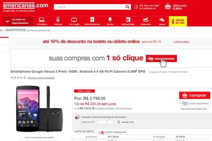 Americanas cobra surreais R$ 2.799 pelo celular Google / LG (Foto: Reprodução)