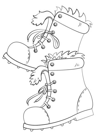 Dibujo De Botas De Invierno Para Colorear Dibujos Para Colorear