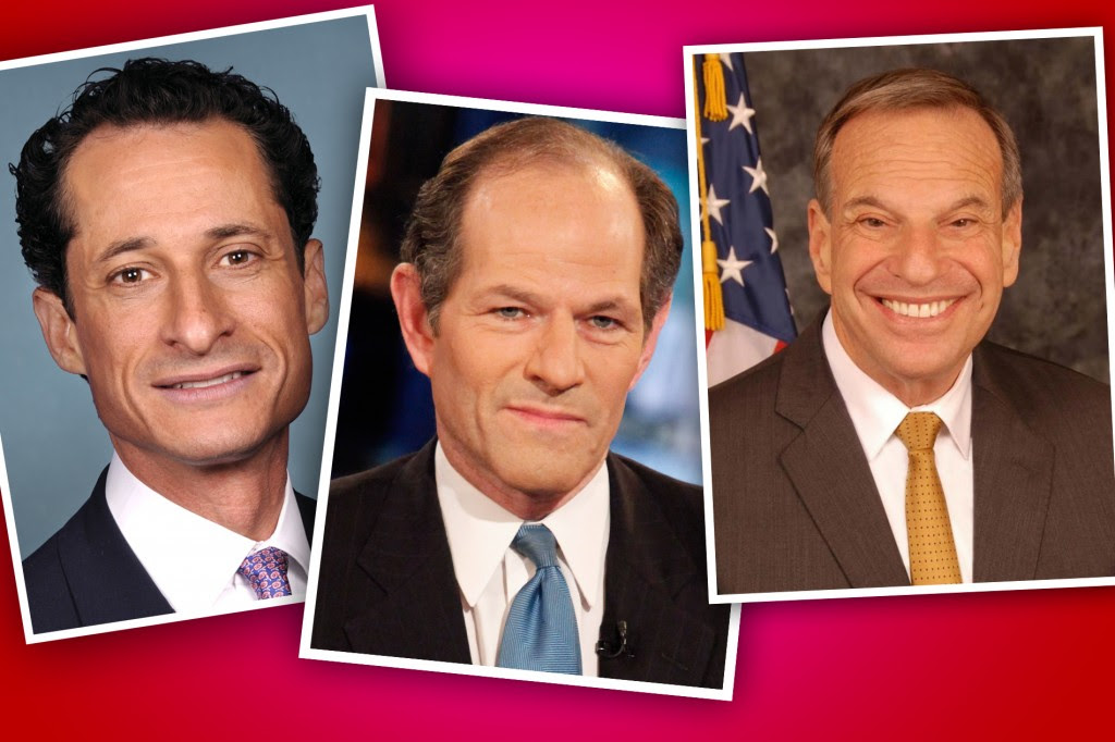 From left, Anthony Weiner, Eliot Spitzer and Bob Filner, three Jewish politicians seeking to move on after misdeeds. (United States Congress/Getty Images/City of San Diego)