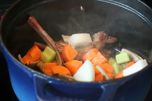 Add the diced vegetables to the browned lamb trimmings