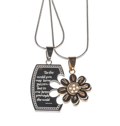 SO SWEET!! His & Hers Two Piece Flower and Quote Pendant Necklace by Shagwear: Shagwear: Jewelry