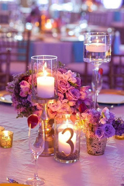 Chic Gold, Aqua, and Lavender Wedding   Table numbers