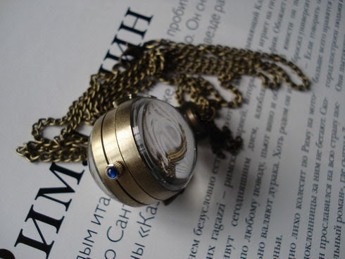 20% HOLIDAY SALE Golden color ball necklace pocket watch pendant E194