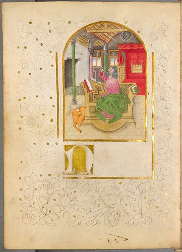 Near-complete central miniature surrounded by sketched outline of textual decoration
