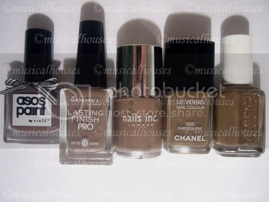 Asos Paints by Ciate Sienna, Rimmel Steel Grey, Nails Inc Jermyn Street, Chanel Particuliere, Essie Mink Muffs