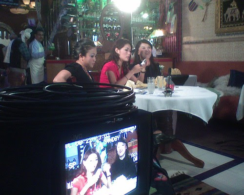 Amber Chia and the others waiting between takes