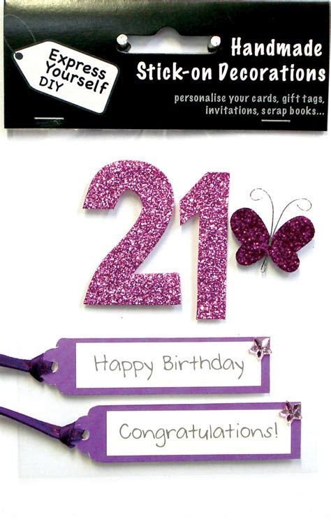Pink 21st Birthday DIY Greeting Card Toppers   Birthday Cards