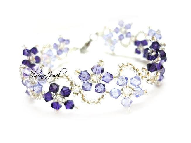 The Dance of Magic Flowers Swarovski Bracelet with Violet Purple Colorstyle - PJ230