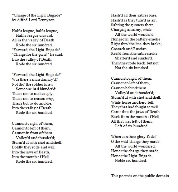 35 Meaning Of Poem Charge Of The Light Brigade