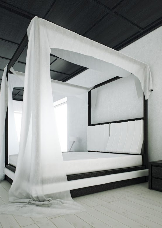 Modern Black and White Canopy Bed – Wind by Mazzali | DigsDigs