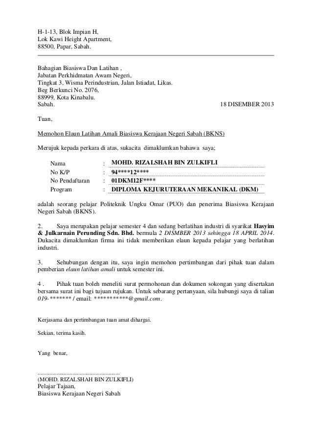 Surat Memohon Elaun Latihan Amali (BKNS)