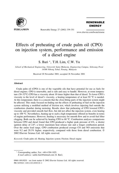 (PDF) Effects of preheating of crude palm oil (CPO) on
