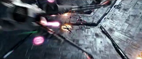 A group of X-Wings fire proton torpedoes at a Starkiller Base target in STAR WARS: THE FORCE AWAKENS.