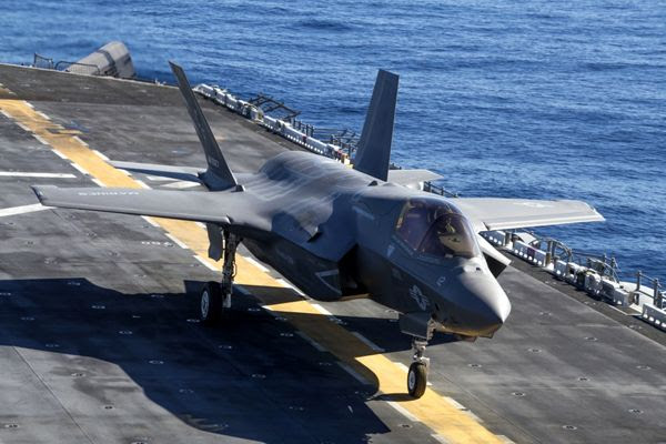 An F-35B Lightning II is about to take off from the deck of the USS Essex during a training exercise off the coast of Southern California...on October 22, 2017.