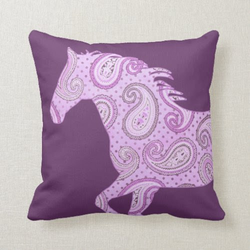 Cute Purple Paisley Horse Pillow
