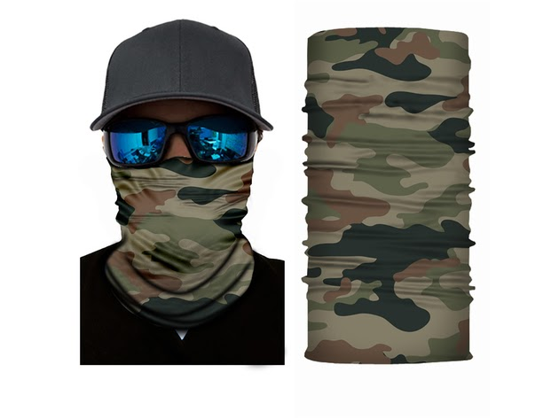 Face Covering Mask Neck Gaiter with Dust UV Protection - Elastic and Microfiber Tube Neck Warmer- Pack of 4 - Camouflage for $15