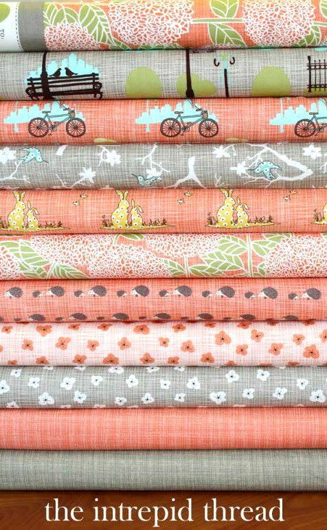 Bluebird Park in Tangerine for Friday's Fabric Giveaway!
