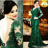Emerald Green Dress With Black Shoes