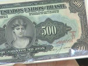 Cédula de 500 mil réis de 1927 é avaliada em R$ 18 mil em Ribeirão, SP (Foto: Valdinei Malaguti/EPTV)