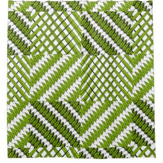 Leaves and Grass Patterned Shower Curtain