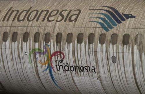 Ash from Mount Kelud covers a Garuda Indonesia airplane at Adi Sucipto airport in Yogyakarta